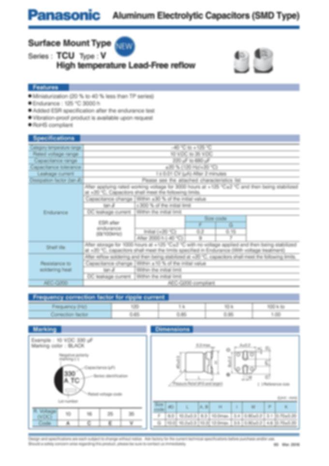 Panasonic TCU Series Aluminum Electrolytic Capacitors