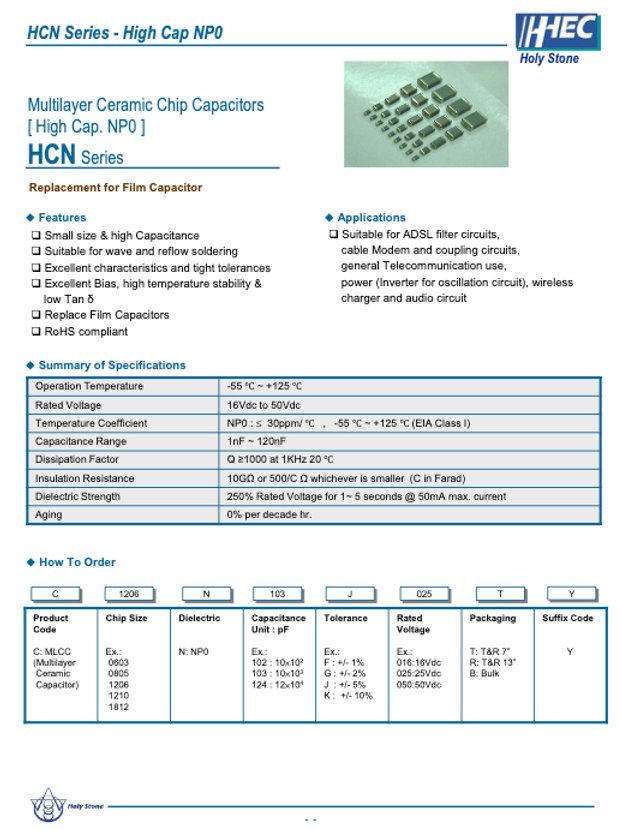 Holystone HCN Series MLC Capacitors
