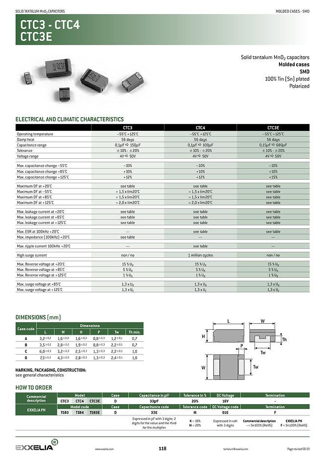 Exxelia CTC3/CTC4 Series Tantalum Capacitors