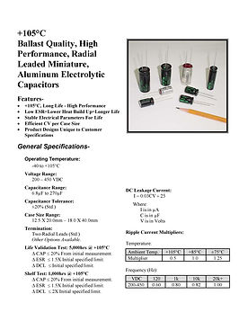BMI 105RB Series Aluminum Capacitors