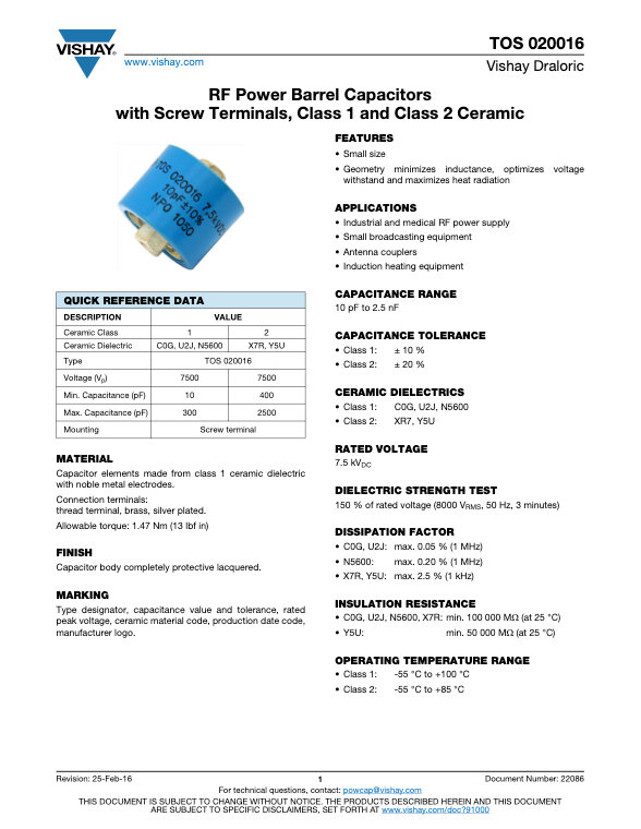 Vishay TOS 020016 Series RF Ceramic Capacitors