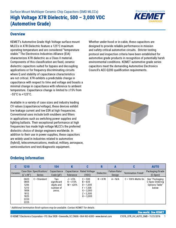 KEMET X7R High Voltage Automotive Grade MLC Capacitors