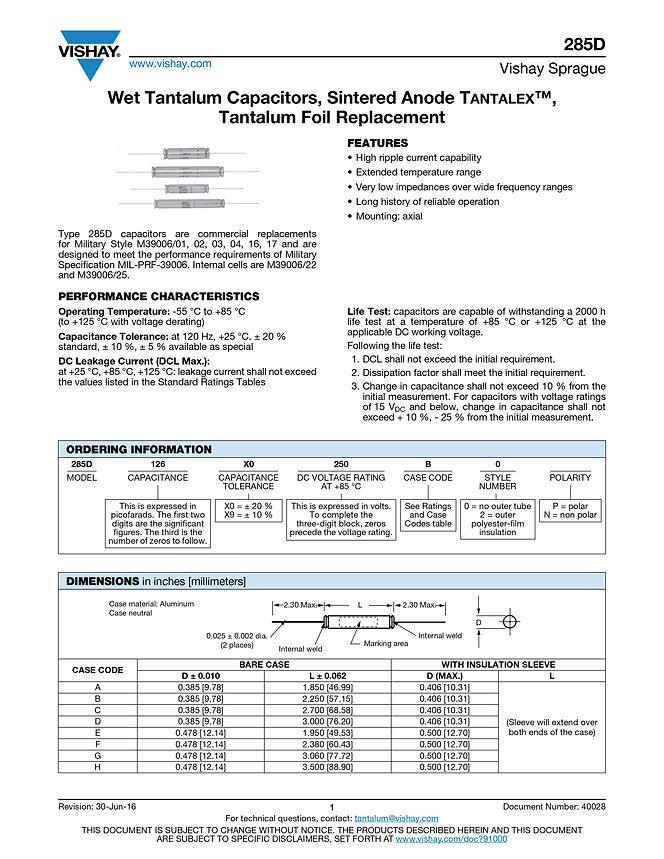 Vishay 285D Series Wet Tantalum Capacitors