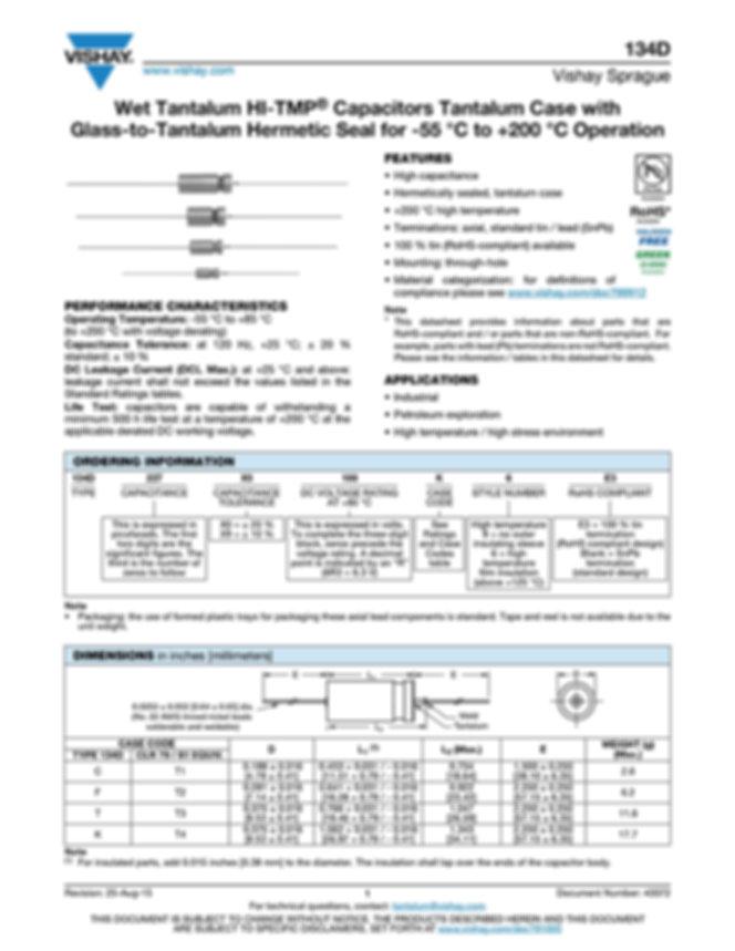Vishay 134D Series Wet Tantalum Capacitors