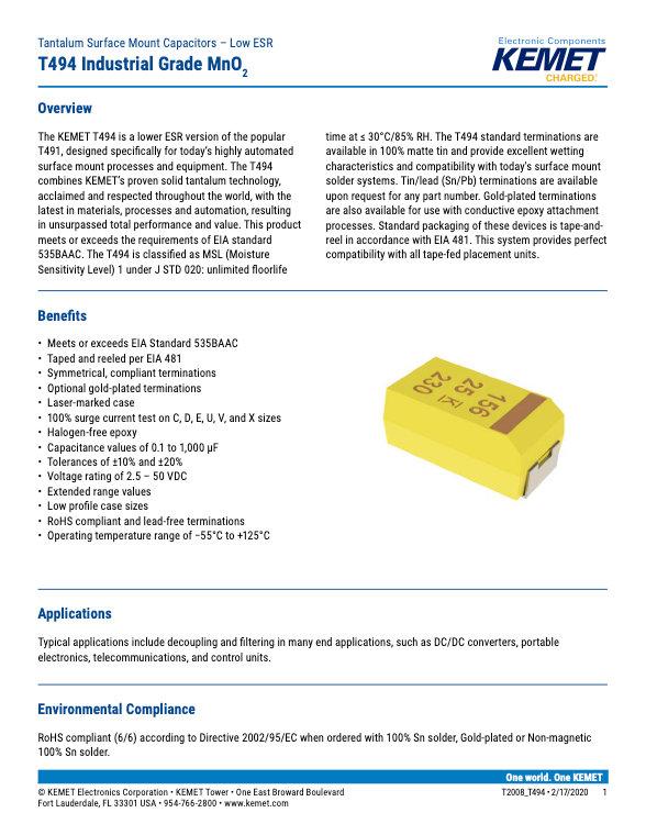 KEMET T494 Industrial Series Tantalum Capacitors