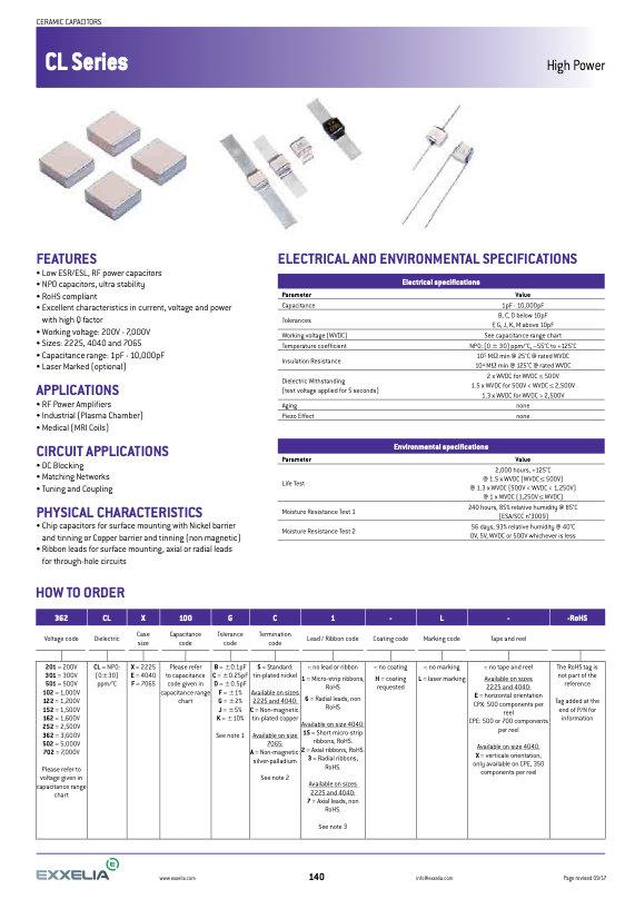 Exxelia CL Series MLC Capacitors