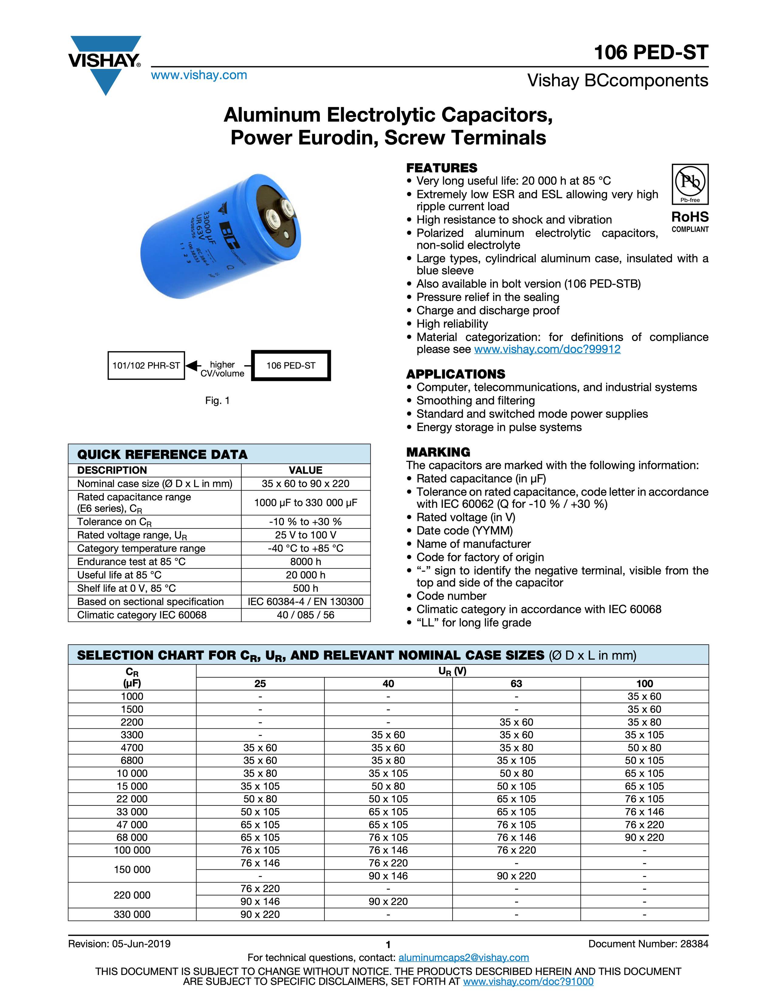 Vishay 106 PED-ST Series Capacitor Data Sheet
