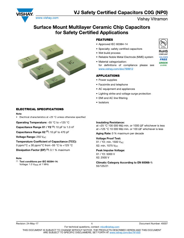 Vishay VJ Safety Certified NPO Series MLC Capacitors