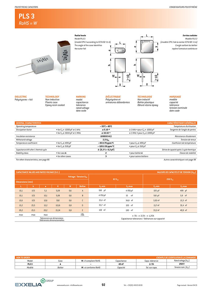 Exxelia PLS-3 Series Film Capacitors