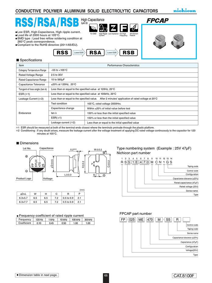 Nichicon RSS/RSA/RSB Series Aluminum Polymer Capacitors