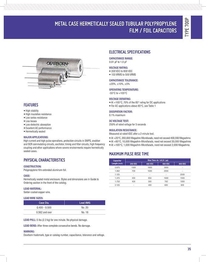 Exxelia 700P Series Plastic Film Capacitors