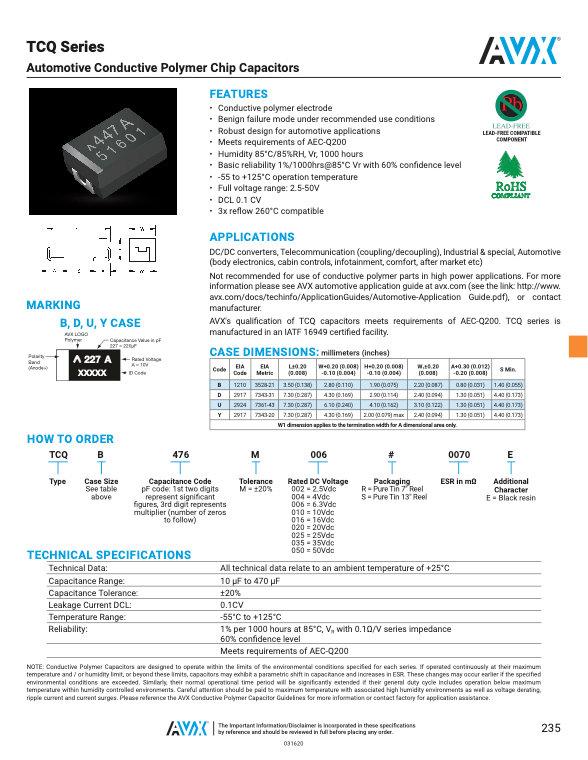 AVX TCQ Series Tantalum Capacitors
