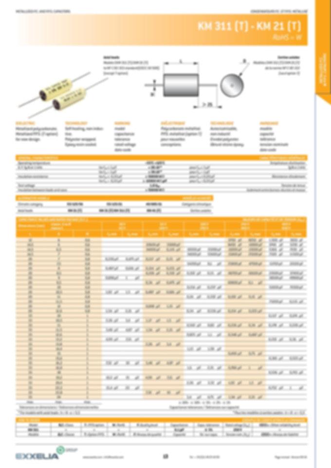 Exxelia KM311 T Series Plastic Film Capacitors
