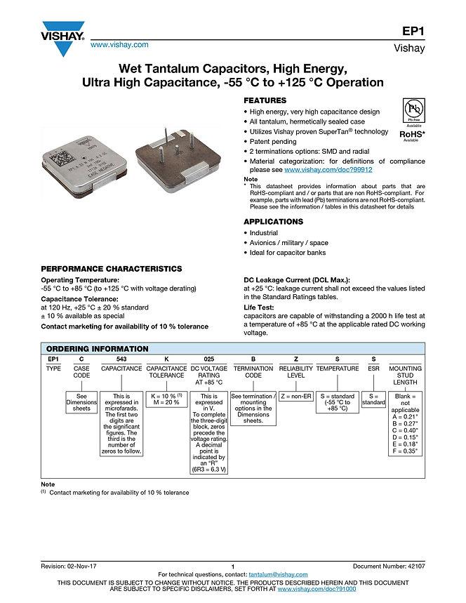 Vishay EP1 Series Wet Tantalum Capacitors