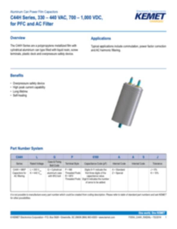 KEMET C44H Series Plastic Film Capacitors