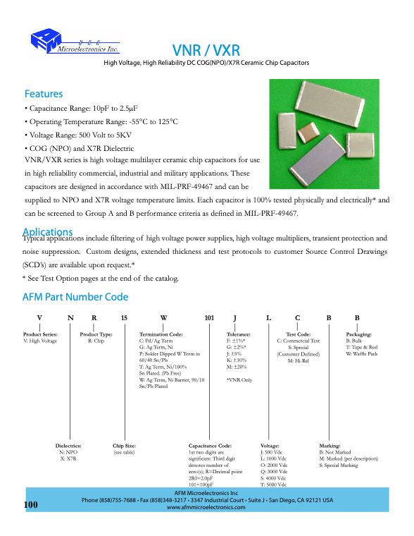AFM Microelectronics VNR/VXR Series MLC Chip Capacitors