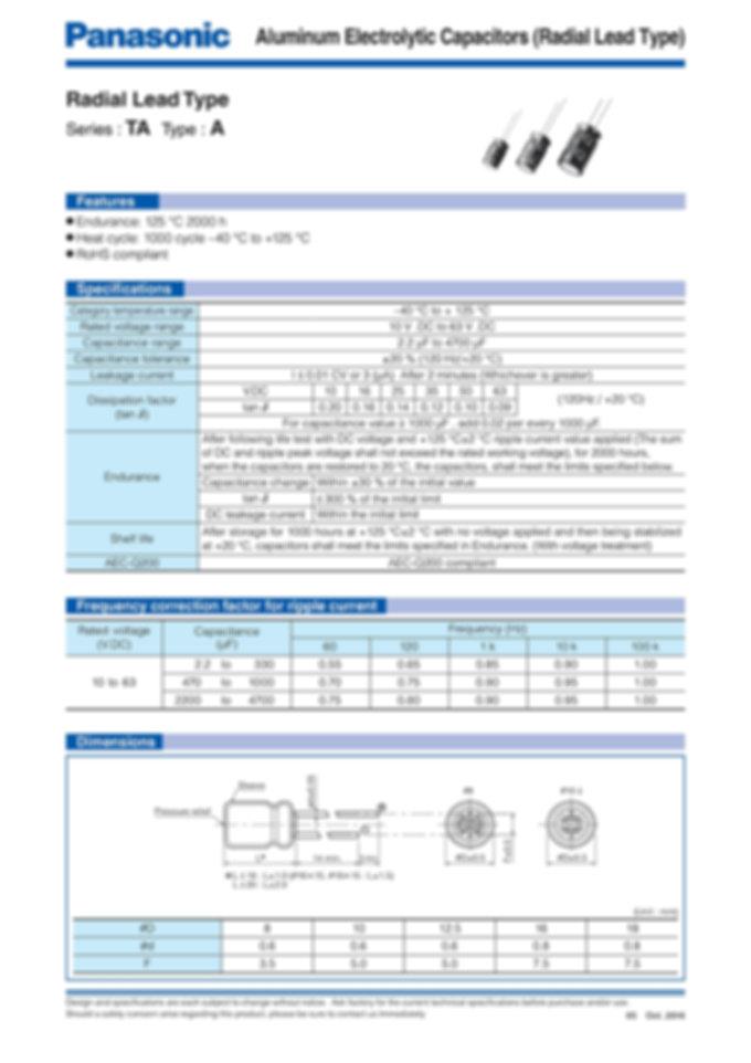 Panasonic TA Series Aluminum Capacitors
