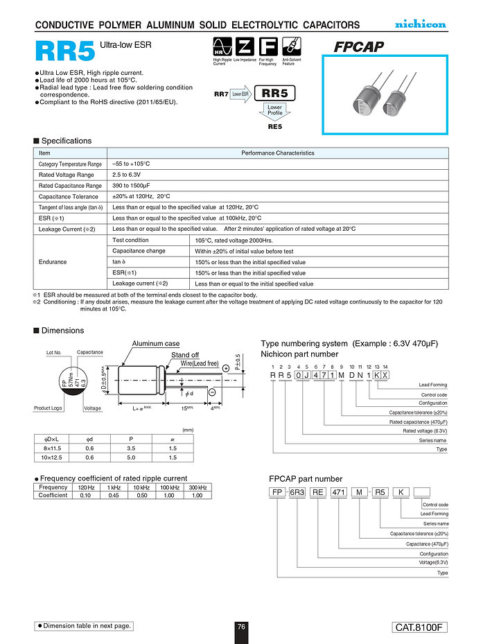 Nichicon RR5 Series Aluminum Polymer Capacitors