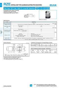 Elna RZE Series Aliminum Electrolytic Capacitors