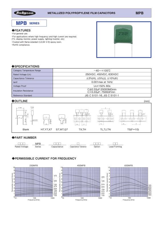 Rubycon MPB Series Radial Plastic Film Capacitors