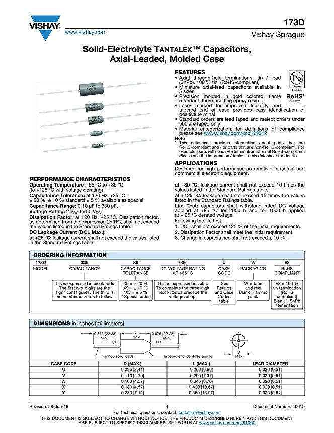 Vishay 173D Series Tantalum Capacitors