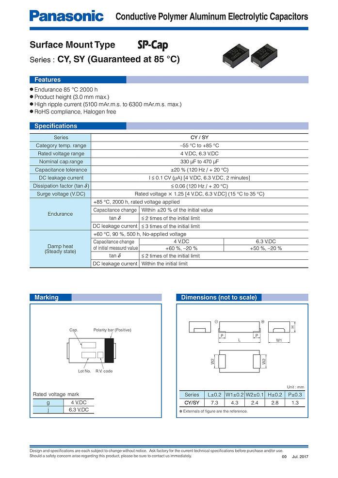 Panasonic CY/SY Series Aluminum Capacitors