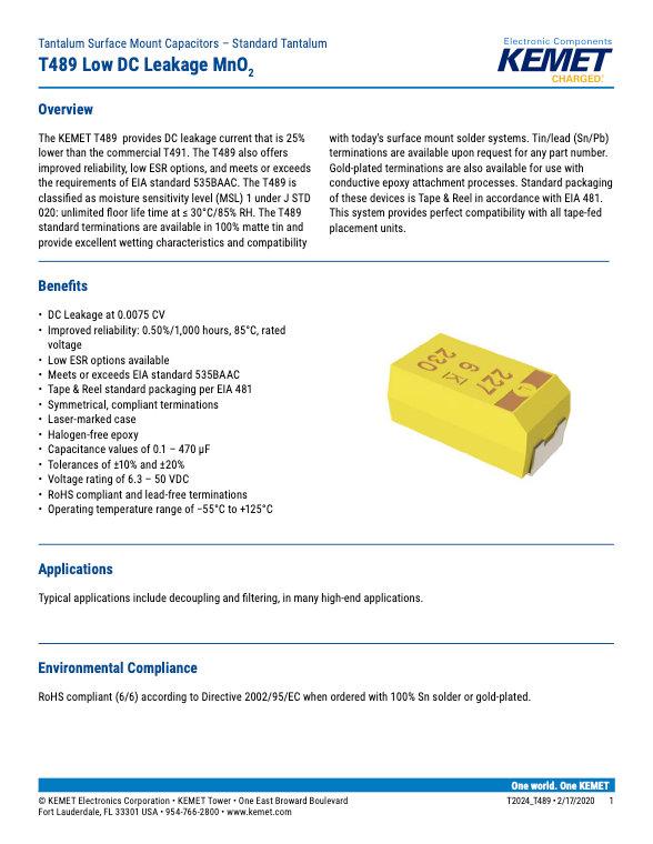 KEMET T489 Series Tantalum Capacitors