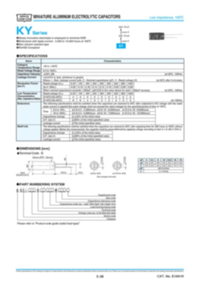 Nippon Chemi Con KY Series Aluminum Electrolytic Capacitors