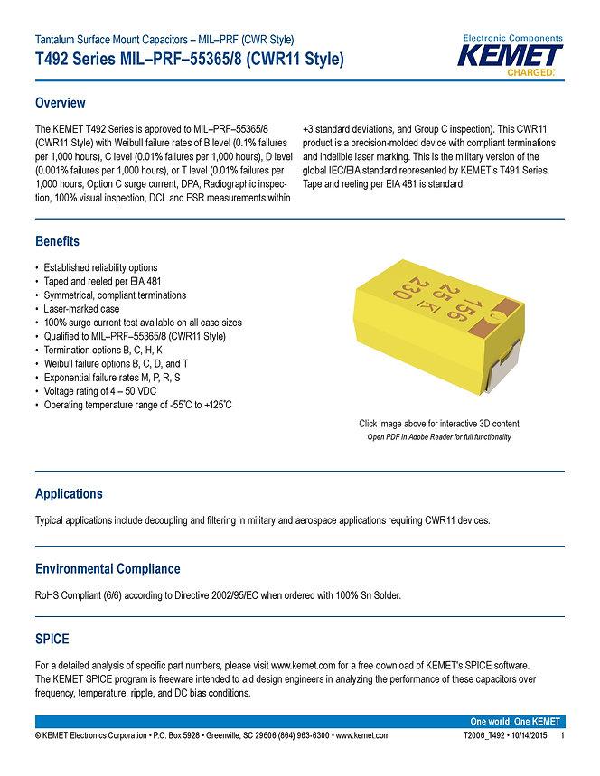 KEMET T492 Series Tantalum Capacitors