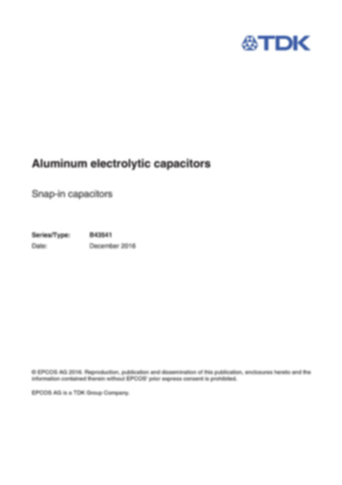 Epcos B43541 Series Snap In Aluminum Electrolytic Capacitors