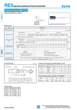Elna RE3 Series Aluminum Electrolytic Capacitors