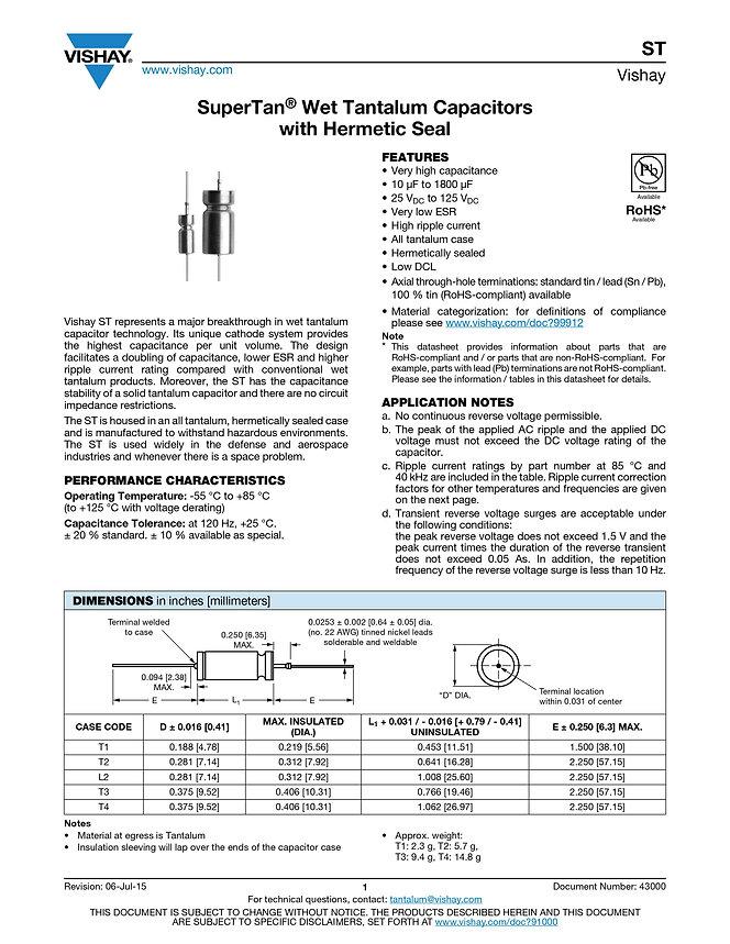 Vishay ST Series Wet Tantalum Capacitors
