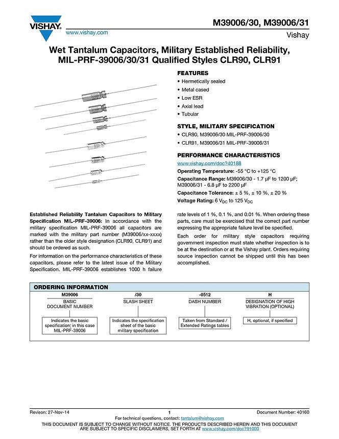 Vishay M39006/30/31 Series Wet Tantalum Capacitors