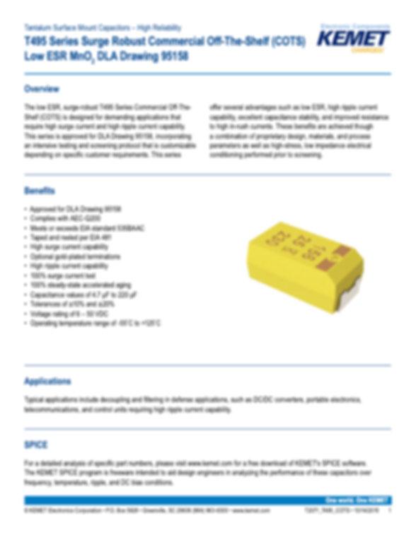 KEMET T495 Series COTS Tantalum Capacitors