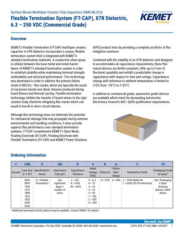 KEMET X7R FT-CAP MLC Capacitors