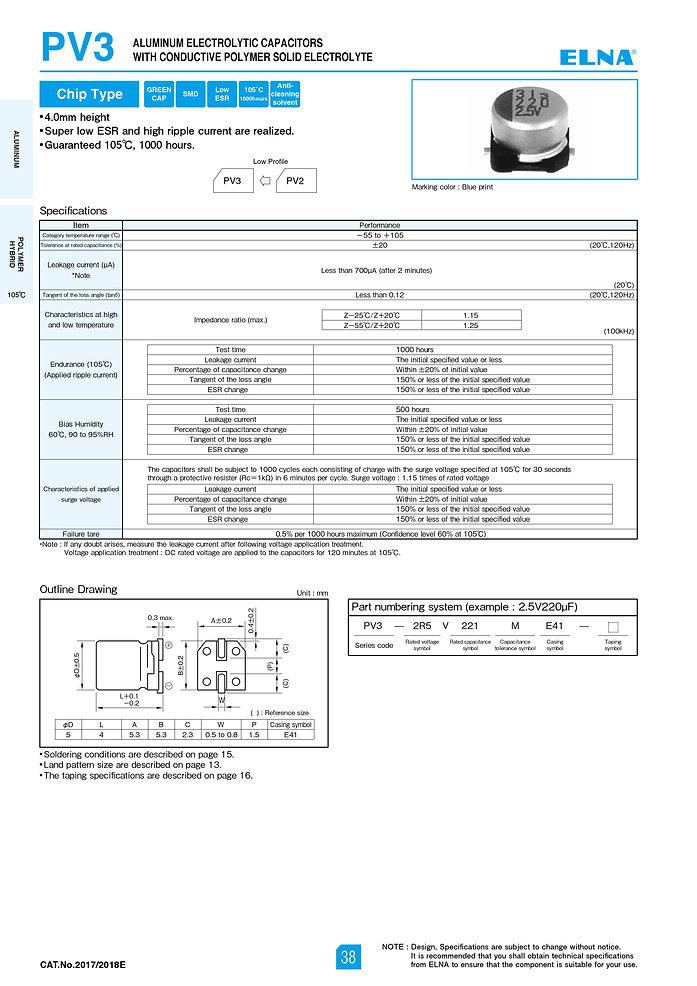 Elna PV3 Series Aluminum Polymer Capacitors