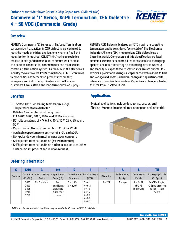 KEMET X5R Surface Mount SnPb MLC Capacitors