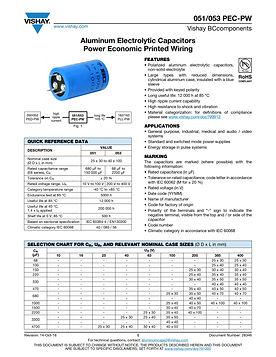 Vishay 051/053 PEC-PW Series Aluminum Electrolytic Capacitors
