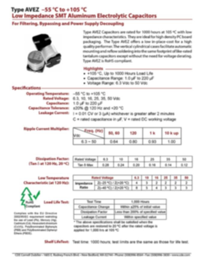CDE Type AVEZ Aluminum Electrolytic Capacitors