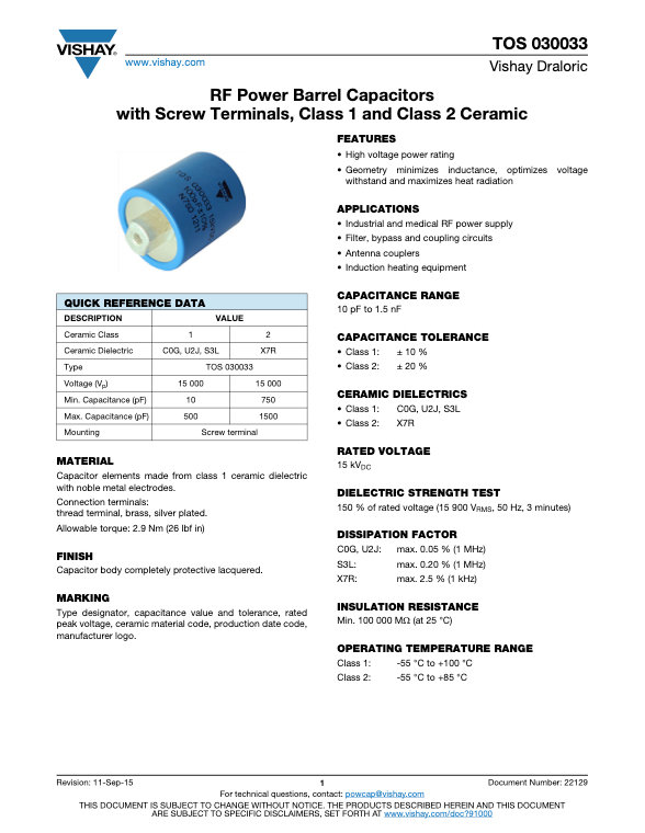 Vishay TOS 030033 Series RF Ceramic Capacitors