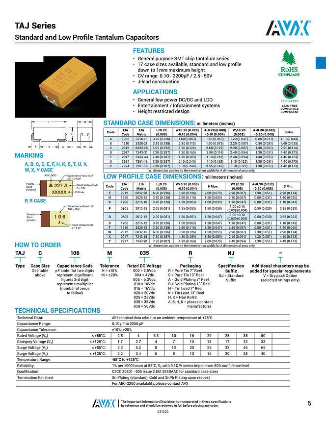 AVX TAJ Standard Series Tantalum Capacitors