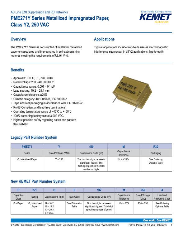 KEMET PME271Y Series Plastic Film Capacitors