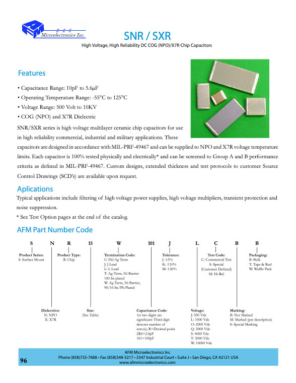 AFM Microelectronics SNR.SXR Series MLC Chip Capacitors
