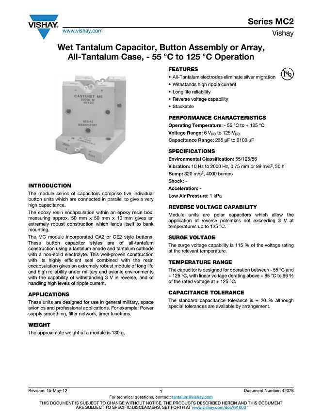 Vishay MC2 Series Wet Tantalum Capacitor Array