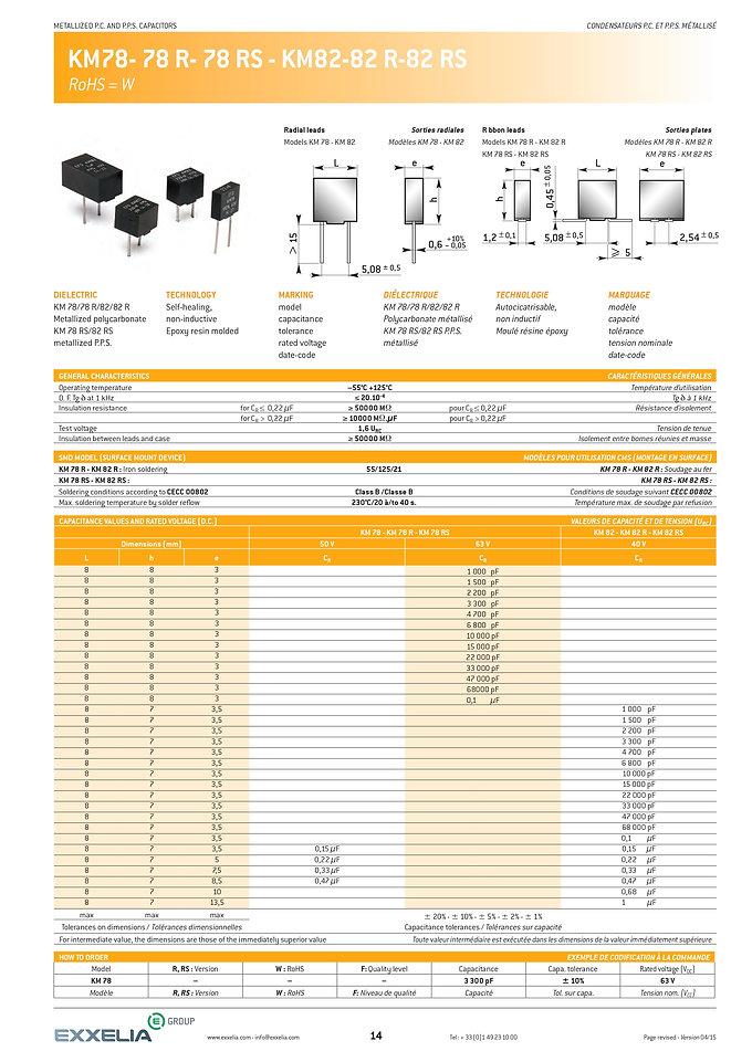 Exxelia KM78...KM82 Series Plastic Film Capacitors