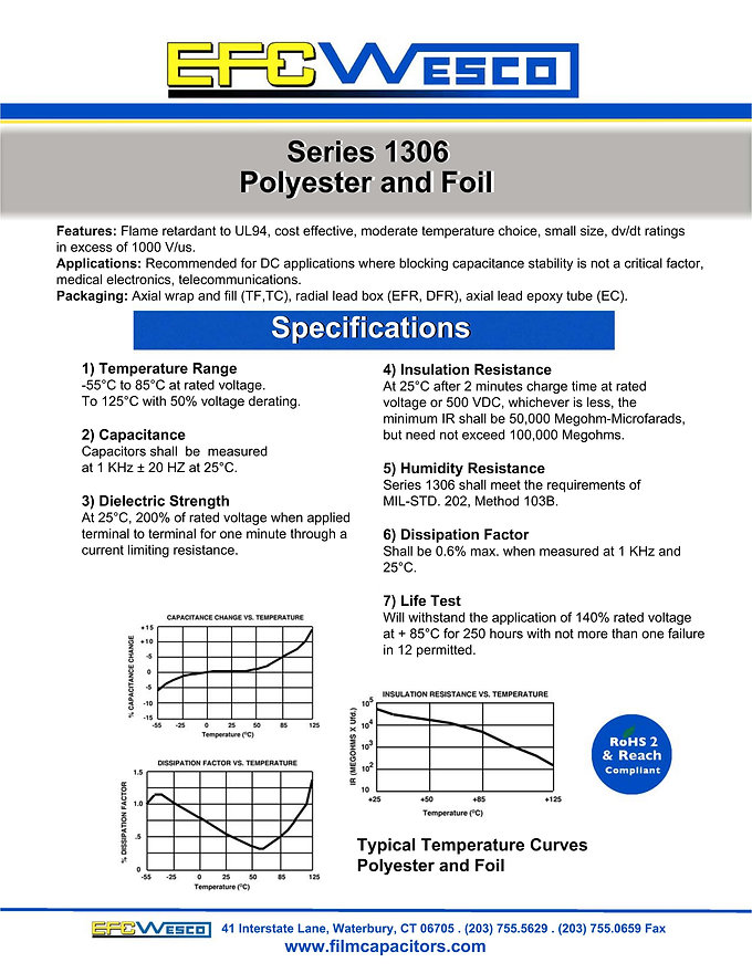 EFC Wesco 1306 Series Polyester And Foil Capacitors