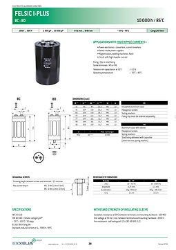 SIC SAFCO FELSIC I PLUS Series Screw Terminal Aluminum Electrolytic Capacitors