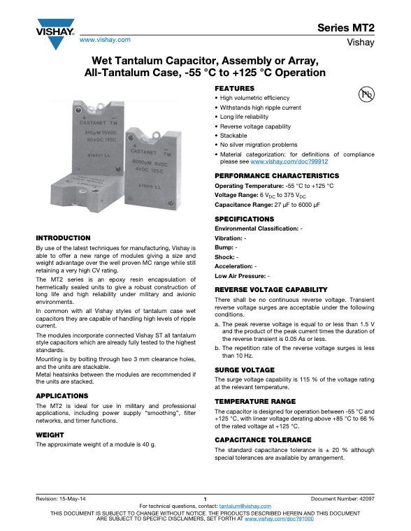 Vishay MT2 Series Wet Tantalum Capacitor Arrays