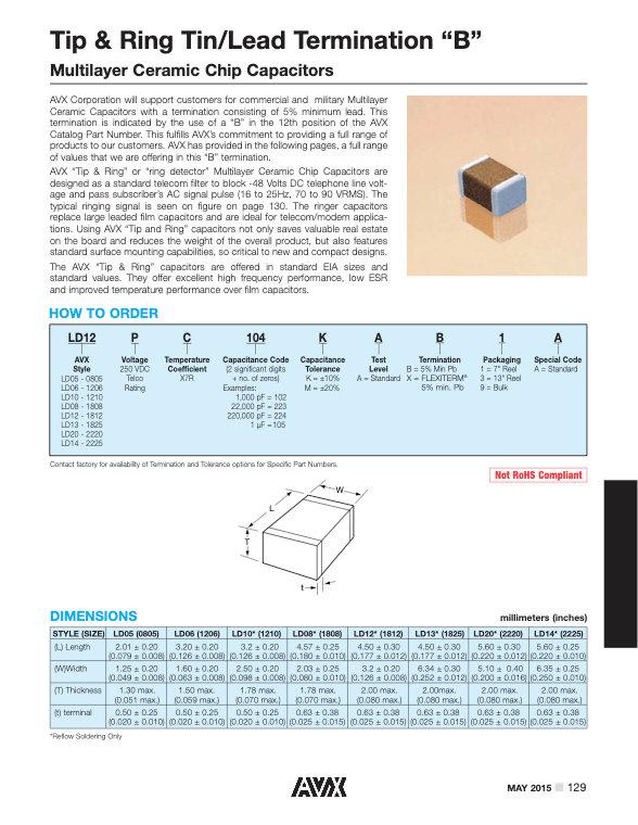 AVX Tip & Ring Tin/Lead MLC Capacitors