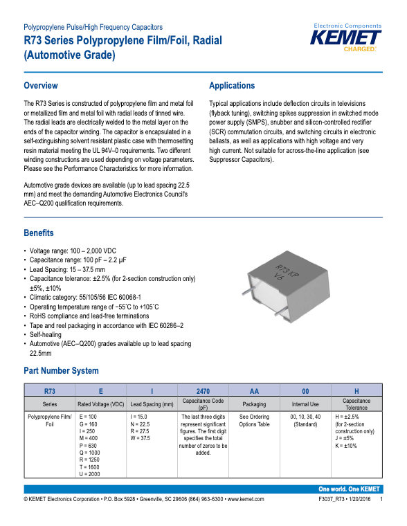 KEMET R71 Series Plastic Film Capacitors